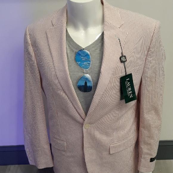 Seersucker men's Blazer red white pinstripe jacket